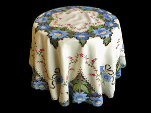 "Flowers in Blue Madeira Embroidery Round Tablecloth 66"" w/ 8 Napkins"