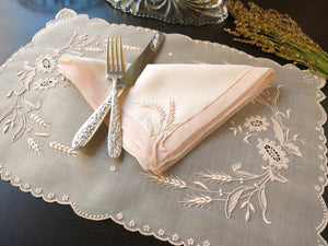 """Wheat"" in Pink Marghab Vintage Madeira Embroidery 16pc Placemat Setting for 8"