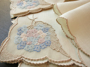 """Hydrangea"" Vintage Marghab Madeira Embroidery Napkins - Set of 12"