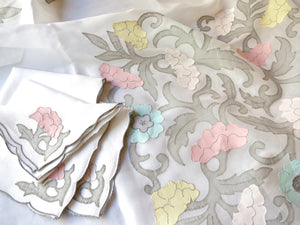 """Les Fleurs"" Vintage Marghab Madeira Embroidery Organdy Tablecloth & 4 Napkins"