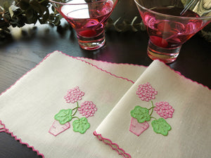 Pink Geranium Vintage Marghab Madeira Cocktail Napkins - Set of 4