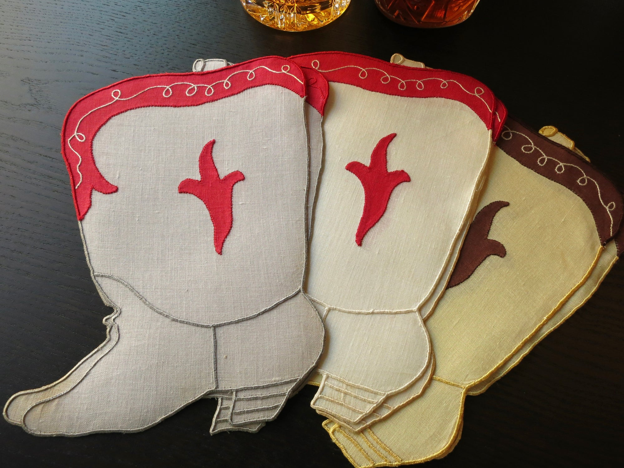 Cowboy Boots Vintage Madeira Embroidered Linen Cocktail Napkins - Set of 6