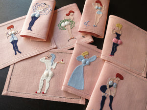 Naughty Vintage Linen Cocktail Napkins - Set of 8