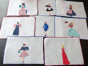 Vintage Naughty Peek-a-Boo Madeira Cocktail Napkins - Set of 8