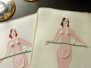 Art Deco Nude Waitress Vintage Madeira Naughty Cocktail Napkins - Set of 8