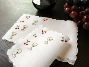 Cherry Cocktails Vintage Madeira Embroidered Linen Cocktail Napkins - Set of 6