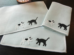 Cats & Dogs Vintage Madeira Embroidered Cocktail Linen Napkins - Set of 6