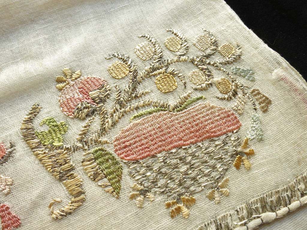 Light and Airy Antique Ottoman Embroidered Fruits Towel 20x46""