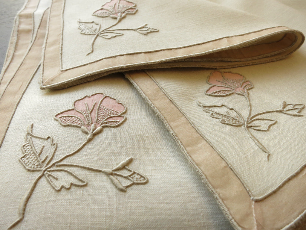 """Hibiscus"" Vintage Marghab Madeira Embroidery Tea Napkins - Set of 12"