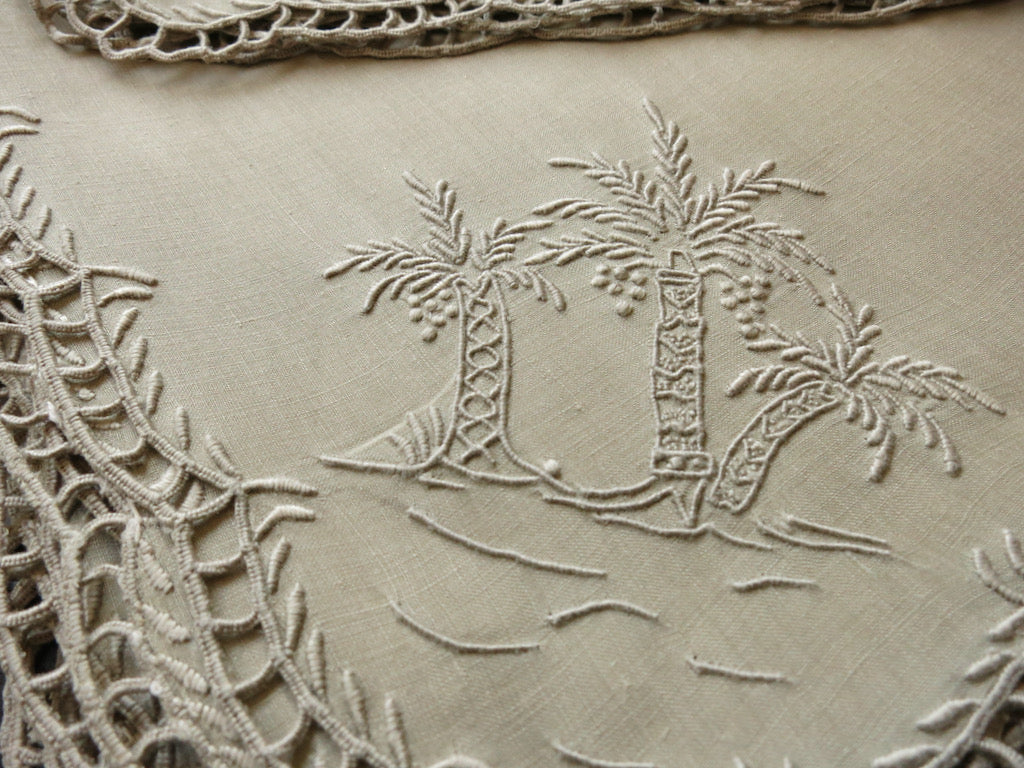 """Palm Tree"" Vintage Marghab Madeira Embroidery 6 Linen Napkins"