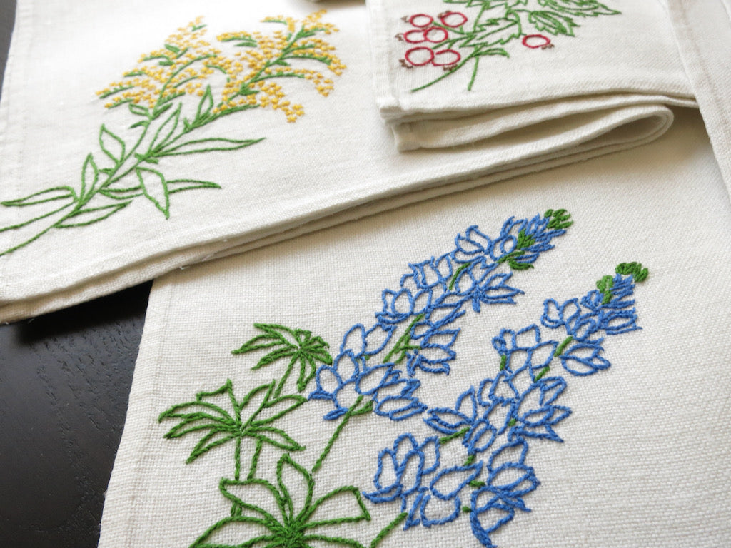 Pretty Flowers Vintage Hand Embroidery Large Linen Napkins ~ Set of 8