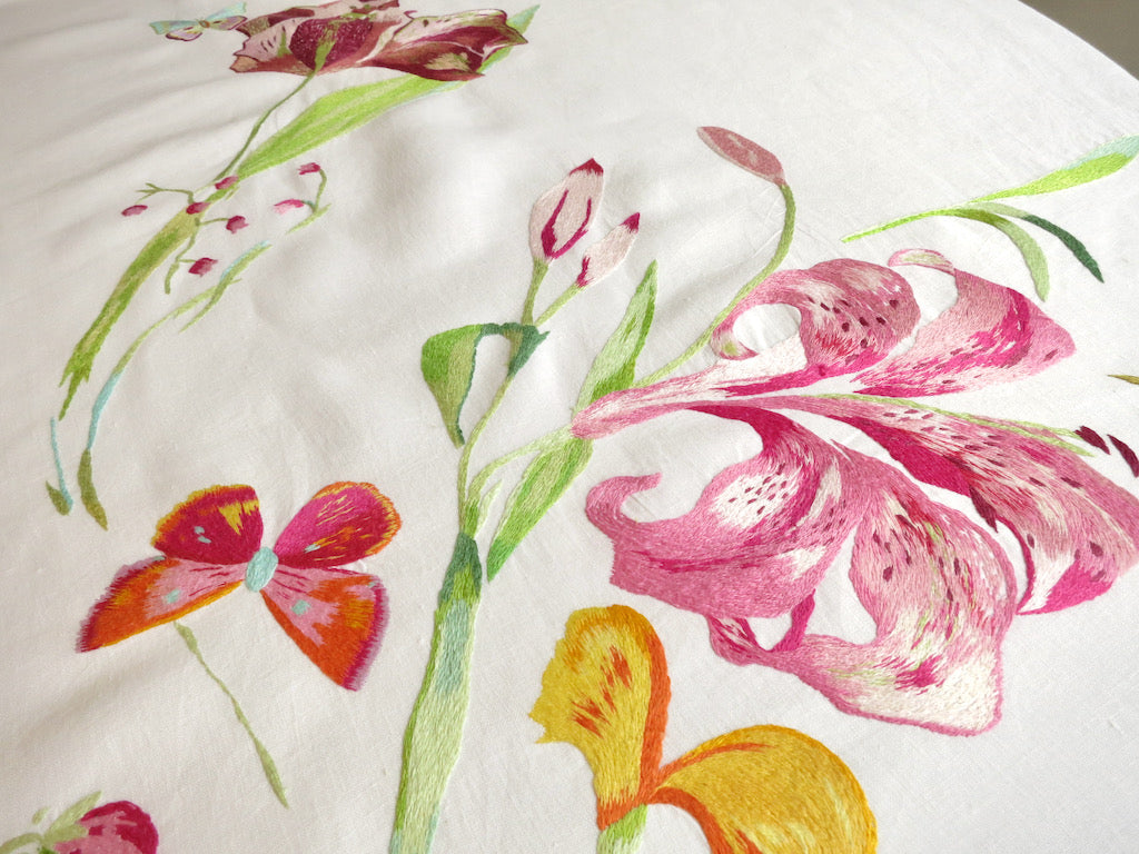 "Lilies & Butterflies Vintage D Porthault Embroidered Linen 90"" Round Tablecloth"