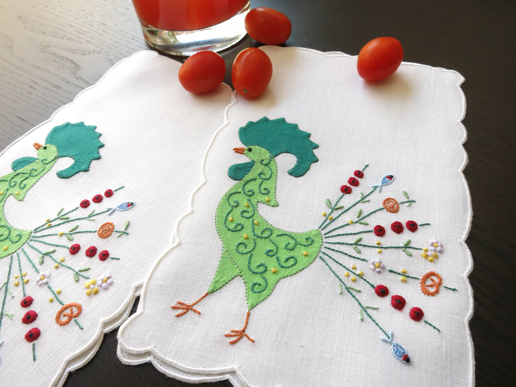 Shish Kabob Feathers Vintage Hand Embroidered Linen Cocktail Napkins ~ Set of 6
