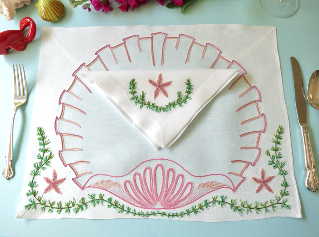 Shells & Starfish Vintage D Porthault Beauvais Embroidery Placemat Setting for 12