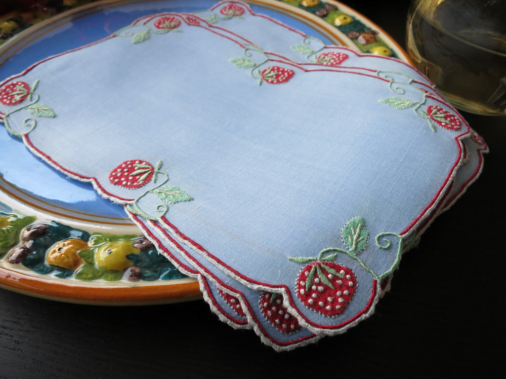 Strawberries on Blue Vintage Madeira Linen Cocktail Napkins ~ Set of 6