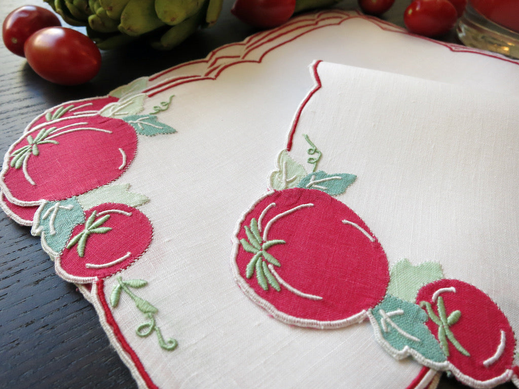 Tomatoes Vintage Madeira Embroidered Linen Cocktail Napkins ~ Set of 6