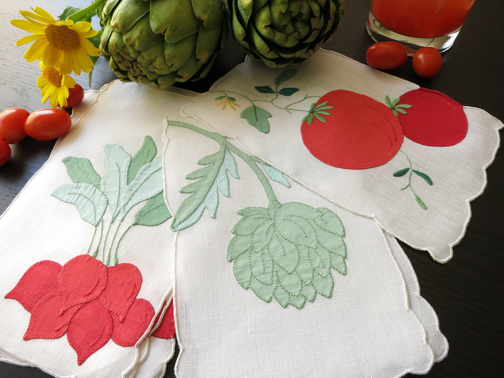 Oversized Veggies Vintage Hand Embroidered Linen Cocktail Napkins ~ Set of 6