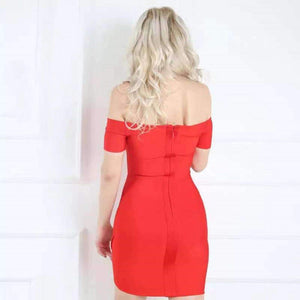 Delaila Red Off Shoulder Dress Dress