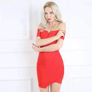 Delaila Red Off Shoulder Dress Dress S