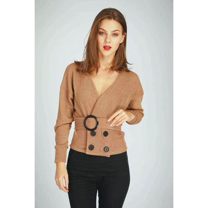 Mocha Buckle - Through Bib Button Top Tops XS / Brown