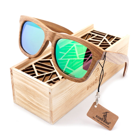 BOBO BIRD AG007 - Brown Wood, Square Style Sunglasses