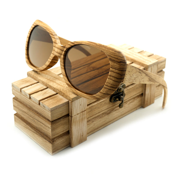 BOBO BIRD AG002 - Vintage Bamboo, Zebra Wood Sunglasses for Ladies