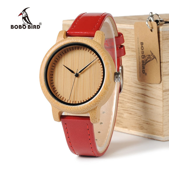 BOBO BIRD WJ09 - Stylish Bamboo Wood Watch for Women
