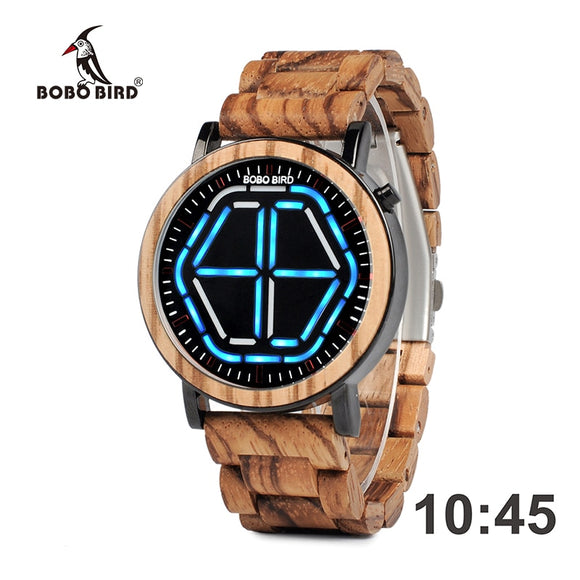 BOBO BIRD L-P13 - Luxury Stainless Steel Zebra Wood Watch