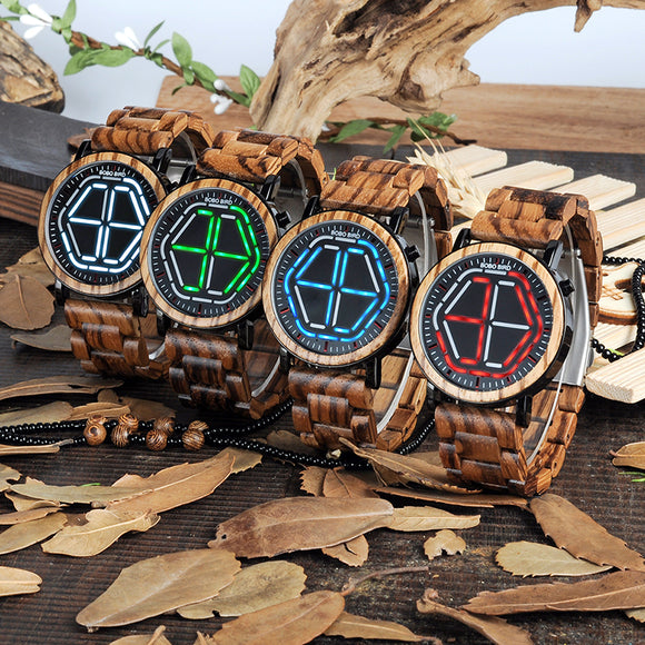 BOBO BIRD E/P13 - Unique Bamboo Wood, LED Dial Wristwatch