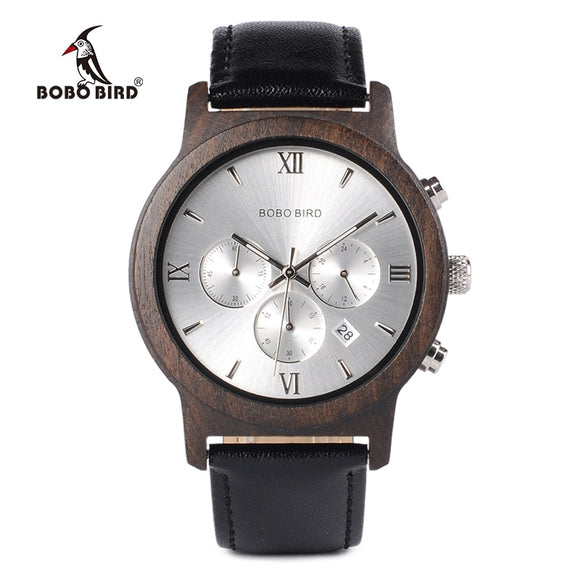 BOBO BIRD WP28 - Luxury Chronograph Wooden Quartz Watch