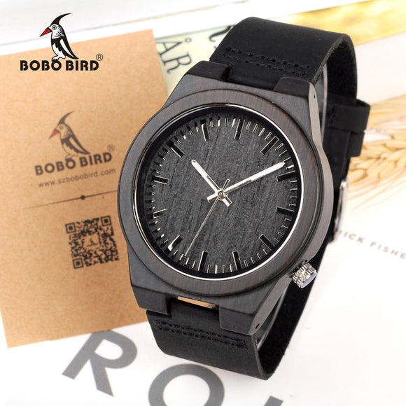 BOBO BIRD BLACK WOOD WATCH C-B12 - Wooodster - Wooden Watches, Sunglasses & Accessories