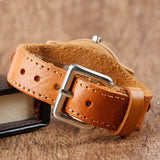 Moose Deer, Elk Face Bamboo Wrist Watch with Genuine Leather strap for Men