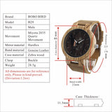 BOBO BIRD V-H29 - Mens Zebra Wood Quartz Wristwatch with Leather strap.