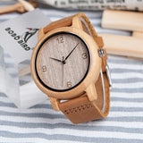 BOBO BIRD W*L09 - Antique Bamboo Watch with Leather Strap