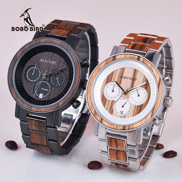BOBO BIRD V-R01 - Stainless Steel & Bamboo Wood Watch
