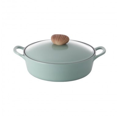 Retro  Casseroles Low  Green Induction with Die-Casted Lid