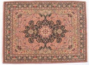"Certified organic Persian Style Hand-knotted Wool Rug 253x316cm ""Ardebil"" Rose Colour"