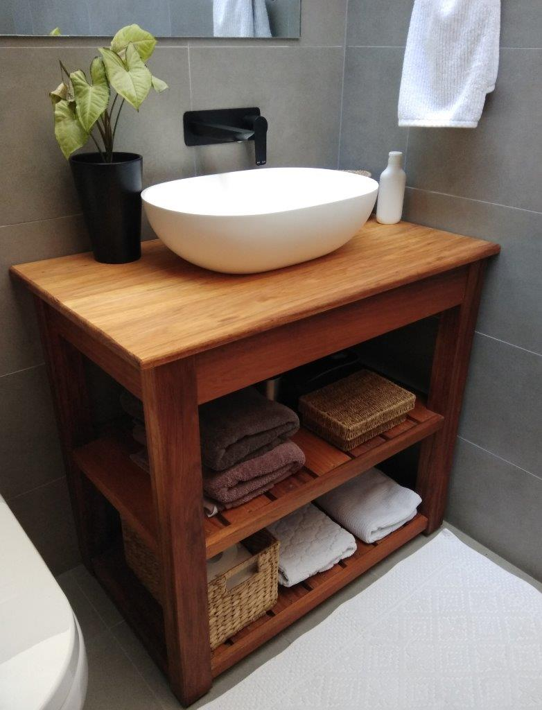 Bathroom Natural Timber Shelved Cabinet
