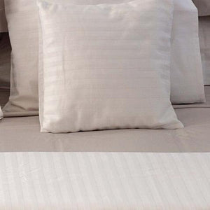 Hotel White Sateen Stripe Cot Sheet Set