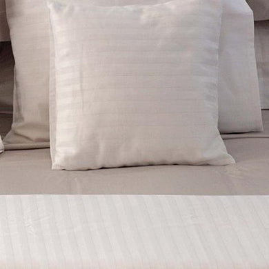 Hotel White Sateen Stripe Quilt Cover Set