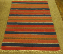 Load image into Gallery viewer, Flatweave Cotton Rug Colourful stripes 160 x 230cm