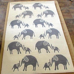 Elephant Print Organic Wool Hand Tufted Carpet Blue 180 x 240cm