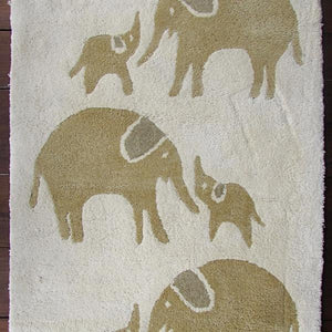 Elephant Print Organic Wool Hand Tufted Carpet Yellow