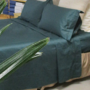 Magnificent Quilt Set in Emerald/Natural Reversible