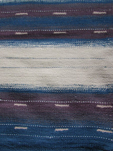 Large Blue Mauve and Natural Organic Wool Flatweave Rug 274 x 365cm