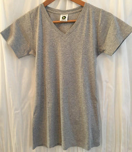 Ladies Short Sleeve Vee - Grey Melange