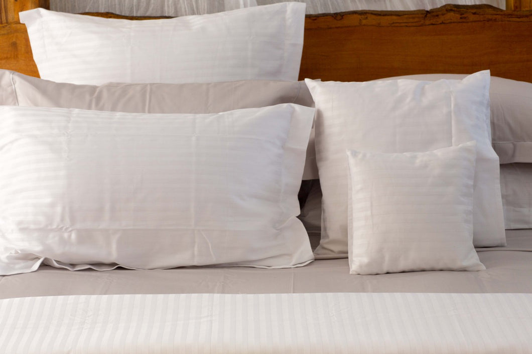 Hotel Quality Sateen Stripe Sheet Set in White