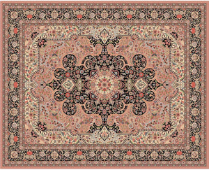 "Certified organic Persian Style Hand-knotted Wool Rug 241x301cm ""KASHAN"" Rose Colour"