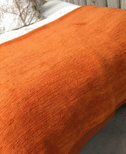Cotton Chenille  Blanket in orange