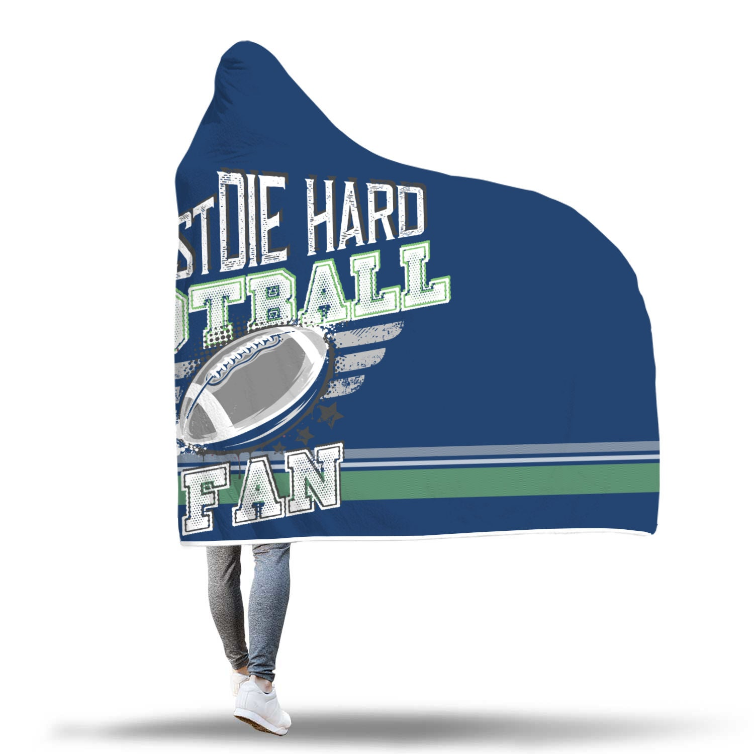 Ink Blue and Green Football Bleacher Blanket
